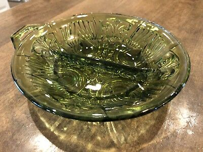 Indiana Glass Killarney Avocado Green Relish/Nut Dish Divided 2-Part Vintage