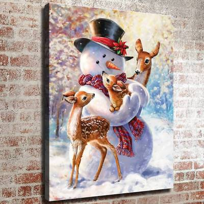 "12""x16""snowman deer HD Canvas Prints Painting Home Decor Picture Wall Art Poster"