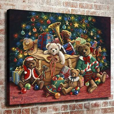 """12""""x16""""teddy bear christmas HD Canvas Prints Home Decor Picture Wall Art Poster"""