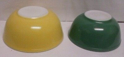 2 Vintage Pyrex Primary Color Mixing Bowl Yellow 404 Green 403 Shiny