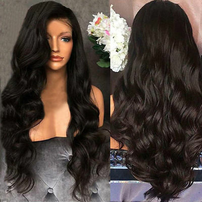 Fashion Womens Front Wig Blonde Black Long Wavy Full Wigs Party Hair Wigs