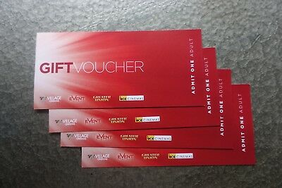 4 X Village (Event) Adult Movie Tickets- Unrestricted Expires 30 June 2019