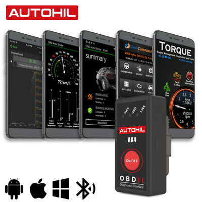 Autohil AX4 ELM327 1.5V OBD2 OBD Bluetooth 4.0 Scanner Tool For iPhone & Android