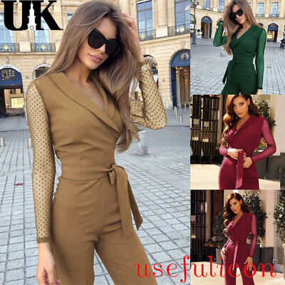 UK Womens 3 Colour Evening Party Playsuit Ladies Lace Long Jumpsuit Size 8 - 16