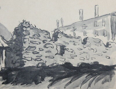Antique Ink Painting Landscape Old Building