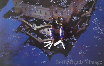 Vintage BLUE TASSEL EARRINGS Japanese aventurine glass red cranberry white beads