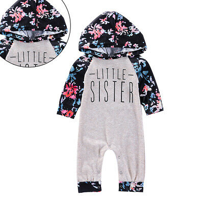 Toddler Baby Girl Flower Cotton Long Sleeve Spring Hooded Jumpsuit Romper Nice