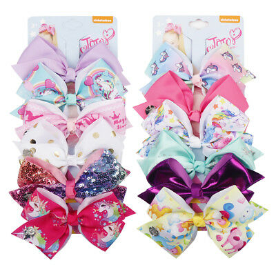 "5.5"" 6pcs/set Girls Cartoon Horse Printed Ribbon Hair Bows With Alligator Clips"
