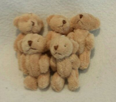 Mini jointed teddy bears/5xlight brown/approx 6cms/soft and fluffy