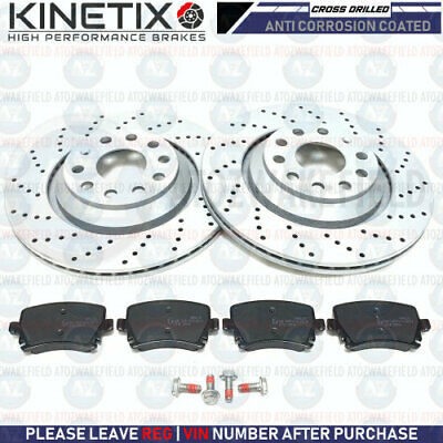 FOR VW GOLF MK5 R32 REAR KINETIX CROSS DRILLED BRAKE DISCS PLATINUM PADS 310mm