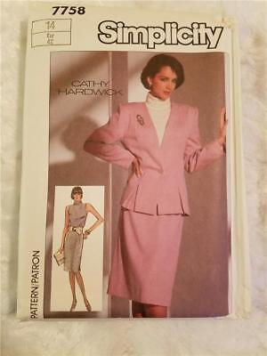 Vintage 1986 Simplicity 7758 Size 14 Cathy Hardwick Skirt, Jacket & Top Pattern