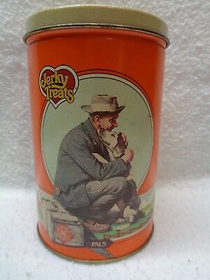 vintage jerky treats tin can norman rockwell pals dated