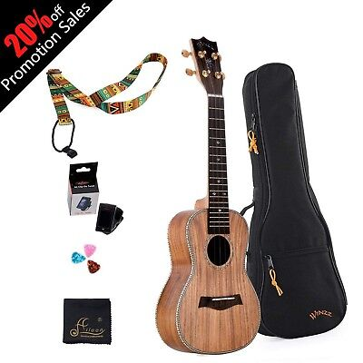 "WINZZ 23"" Concert Solid Koa Wood Ukulele for Professional Performance with Al..."