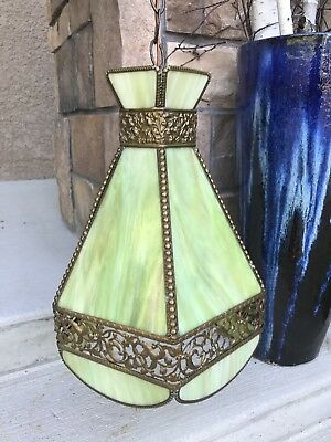 Vintage Green Slag Glass Hanging Chandelier