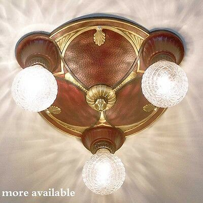 741 Vintage 20s 30s Ceiling Light Lamp Fixture HALL BEDROOM 3 lights 1 OF 8