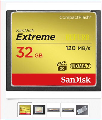 32GB SanDisk Extreme CompactFlash CF Memory Card 120MB/S UDMA7 SDCFXS-032G 800X