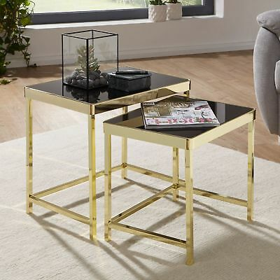 FineBuy Nesting tables VIVI black / gold side table metal / glass coffee table