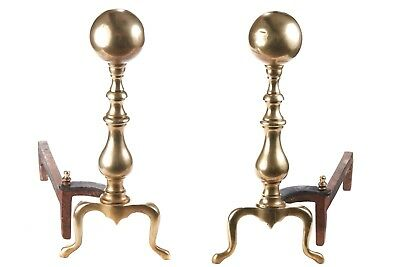 Large Pair Of Antique Brass & Iron Firedogs C.1850