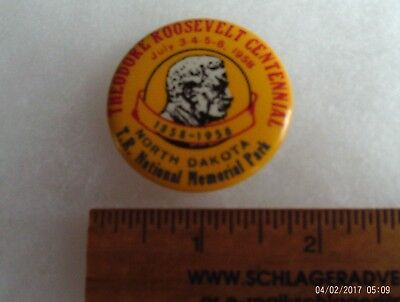 Teddy Roosevelt 50 year political campaign pinback 1958