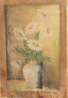 Antique Oil Painting Still life Daisy Signed