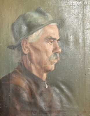 Antique european oil painting portrait