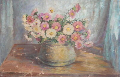Antique european oil still life with roses