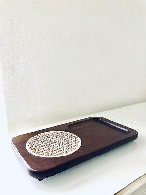 Vintage Appetizer Wood Tray With Round Tile and Snack dish made in Japan 1950s