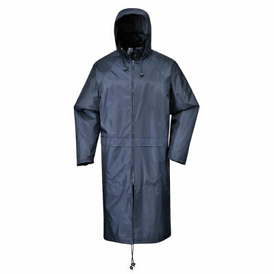 """Portwest S438 Classic Hooded Work Rain Coat with Long 47"""" Waterproof Protection"""