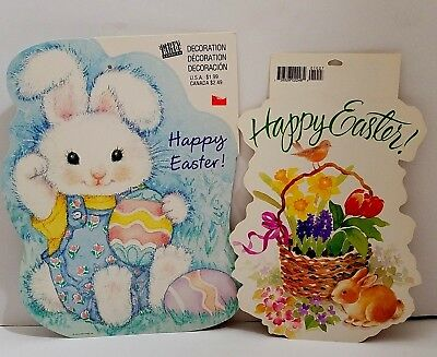 2 Hallmark Die Cut Out Paper Easter Bunny Flowers Wall Decorations Vintage USA