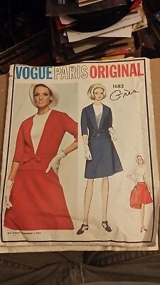 Vintage 1966 Vogue Paris Original Dress Pattern 1683 Design by Gres