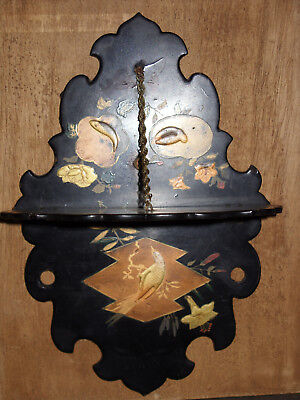 1800s Japanese Lacquered Shelf - Nature Scenes - Fish, Birds, Flowers - Lovely!