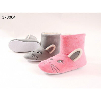 Junior Girls Grey Or Pink Soft Fleece Cute Bunny Rabbit Character Slipper Boots