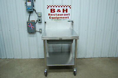 """Amtekco 29"""" Stainless Steel Heavy Duty Mobile Breading Table - Removable Top Lid"""