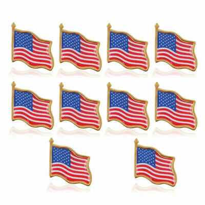 10pcs American Flag Lapel Pin USA United States Hat Tie Tack Badge Pin BY