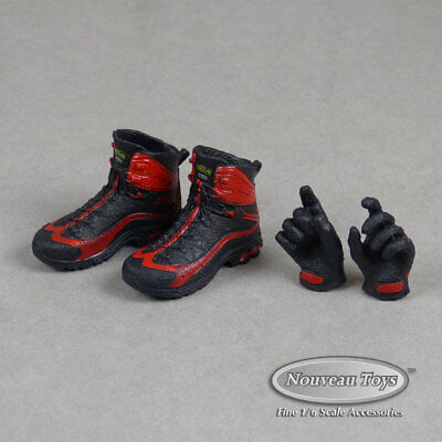 FG Female Black /& Red Hiking Boot Shoes TB League Hot Toys 1//6 Phicen