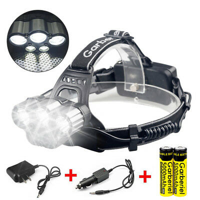 150000 Lumens 5x T6 LED Headlamp Rechargeable 18650 Headlight Super Bright Torch