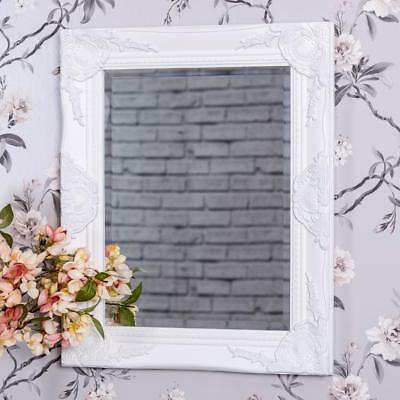 White Wall Mirror French Chic Rococo Style Ornate Baroque Hallway Bedroom Home
