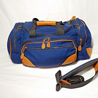 Vintage LL BEAN Canvas Leather Duffle Luggage Gym Bag Tote Navy Blue