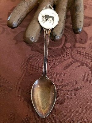 Vintage BMCo Enameled Sterling Silver Spoon bull Made in Canada