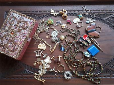 Job lot vintage costume jewellery and box  Some wearable some spares repair