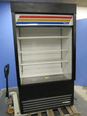 True TAC-48 Open Air Cooler Display Merchandiser with Night Curtain