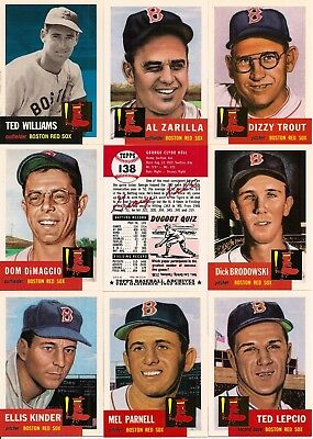 1991 Topps Archives Boston Red Sox 1953 Reprints Master Team Set (26)