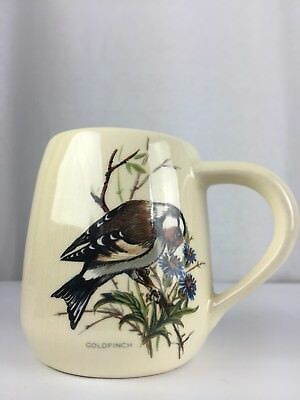 Brixham Pottery Devon Bird Mug Cup Nuthatch Bullfinch Goldfinch