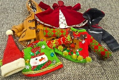 """Doll Cloths for 11"""" Doll, Coats, Sweaters, Capes Excellent Condition"""