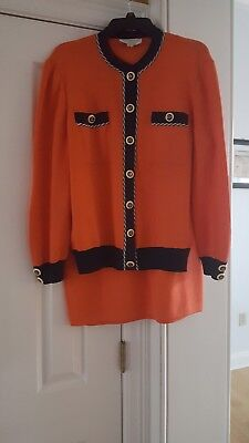 St John Knit Collection by Marie Gray Jacket Medium & Skirt 8 outfit 2pc set