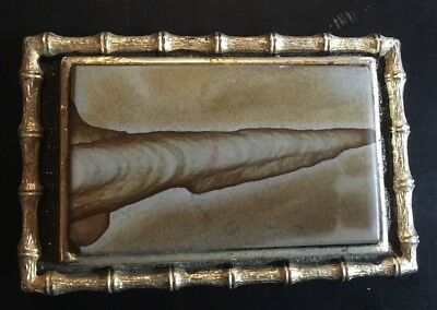 Vintage 70s Belt Buckle Agate Gold Tone Bamboo Frame 3½ x 2¼