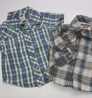 Old Navy Osh Kosh Baby Boy 3-6 months Plaid Shirts Button down Casual