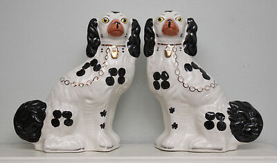 "Large Pair Antique Staffordshire Dogs, Black and Tan Colouring, 12"" Tall"