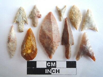 Neolithic Arrowheads x 10, High Quality Selection of Styles - 4000BC - (2120)