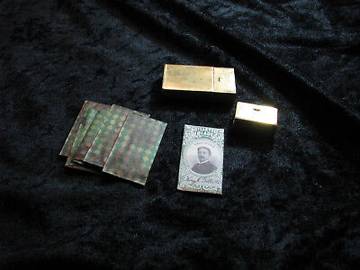 Vintage Gillette Razor Blade Safety Brass Holder with Original Papered Blades